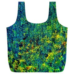 Flowers Abstract Yellow Green Full Print Recycle Bags (l)