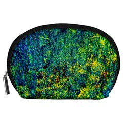 Flowers Abstract Yellow Green Accessory Pouches (large)