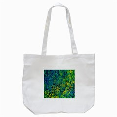 Flowers Abstract Yellow Green Tote Bag (white)  by Costasonlineshop