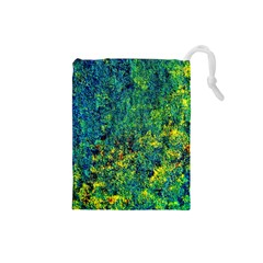 Flowers Abstract Yellow Green Drawstring Pouches (small)