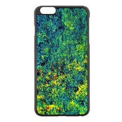 Flowers Abstract Yellow Green Apple Iphone 6 Plus/6s Plus Black Enamel Case