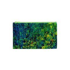 Flowers Abstract Yellow Green Cosmetic Bag (xs) by Costasonlineshop