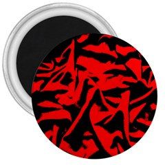 Red Black Retro Pattern 3  Magnets