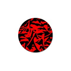 Red Black Retro Pattern Golf Ball Marker (4 Pack) by Costasonlineshop