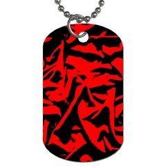Red Black Retro Pattern Dog Tag (two Sides) by Costasonlineshop