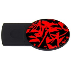 Red Black Retro Pattern USB Flash Drive Oval (2 GB)  by Costasonlineshop
