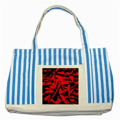 Red Black Retro Pattern Striped Blue Tote Bag