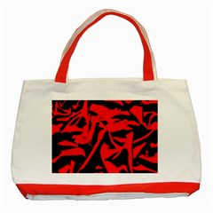 Red Black Retro Pattern Classic Tote Bag (red)  by Costasonlineshop