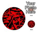 Red Black Retro Pattern Multi-purpose Cards (Round)  Back 8