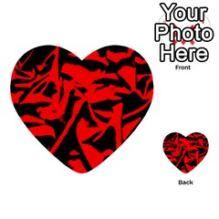 Red Black Retro Pattern Multi Purpose Cards (heart)  by Costasonlineshop