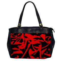Red Black Retro Pattern Office Handbags