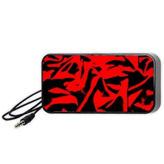 Red Black Retro Pattern Portable Speaker (black)