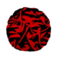 Red Black Retro Pattern Standard 15  Premium Flano Round Cushions by Costasonlineshop