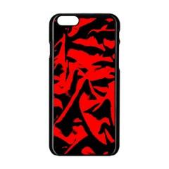 Red Black Retro Pattern Apple Iphone 6/6s Black Enamel Case by Costasonlineshop
