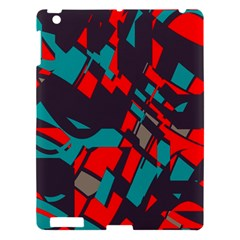 Red Blue Pieces			apple Ipad 3/4 Hardshell Case by LalyLauraFLM