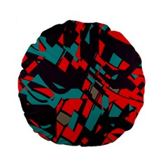 Red Blue Pieces 	standard 15  Premium Flano Round Cushion by LalyLauraFLM