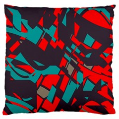 Red Blue Pieces 	large Flano Cushion Case (two Sides) by LalyLauraFLM