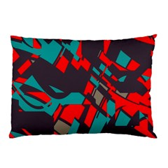 Red Blue Pieces			pillow Case by LalyLauraFLM