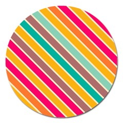 Colorful Diagonal Stripes			magnet 5  (round) by LalyLauraFLM