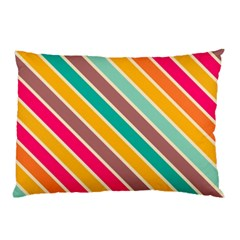 Colorful diagonal stripes			Pillow Case by LalyLauraFLM