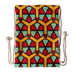 Honeycombs triangles and other shapes pattern Large Drawstring Bag Front