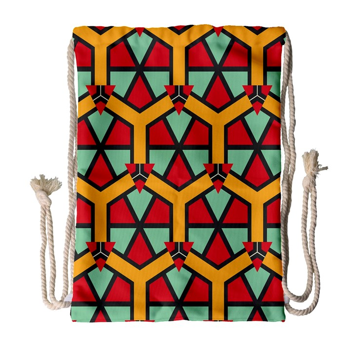 Honeycombs triangles and other shapes pattern Large Drawstring Bag
