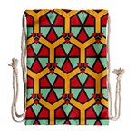 Honeycombs triangles and other shapes pattern Large Drawstring Bag Back