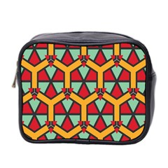 Honeycombs Triangles And Other Shapes Pattern Mini Toiletries Bag (two Sides) by LalyLauraFLM