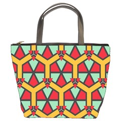 Honeycombs Triangles And Other Shapes Pattern 	bucket Bag by LalyLauraFLM