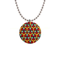 Honeycombs Triangles And Other Shapes Pattern1  Button Necklace by LalyLauraFLM