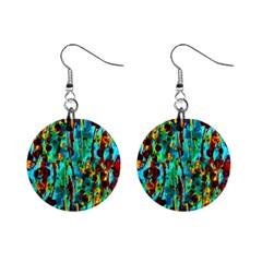 Turquoise Blue Green  Painting Pattern Mini Button Earrings