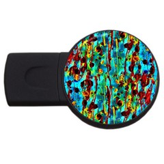 Turquoise Blue Green  Painting Pattern Usb Flash Drive Round (2 Gb)  by Costasonlineshop