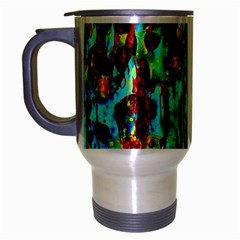 Turquoise Blue Green  Painting Pattern Travel Mug (silver Gray) by Costasonlineshop
