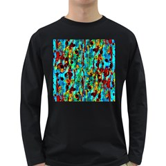 Turquoise Blue Green  Painting Pattern Long Sleeve Dark T Shirts by Costasonlineshop