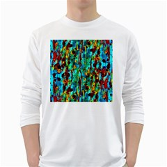 Turquoise Blue Green  Painting Pattern White Long Sleeve T Shirts