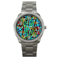 Turquoise Blue Green  Painting Pattern Sport Metal Watches