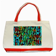 Turquoise Blue Green  Painting Pattern Classic Tote Bag (red)