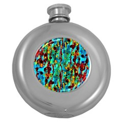 Turquoise Blue Green  Painting Pattern Round Hip Flask (5 Oz) by Costasonlineshop