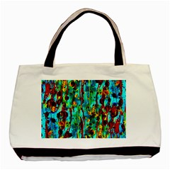 Turquoise Blue Green  Painting Pattern Basic Tote Bag (two Sides)  by Costasonlineshop