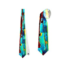 Turquoise Blue Green  Painting Pattern Neckties (two Side)  by Costasonlineshop