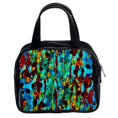 Turquoise Blue Green  Painting Pattern Classic Handbags (2 Sides) by Costasonlineshop