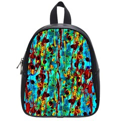 Turquoise Blue Green  Painting Pattern School Bags (small)