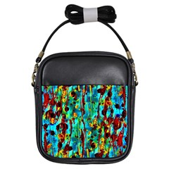 Turquoise Blue Green  Painting Pattern Girls Sling Bags
