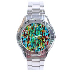 Turquoise Blue Green  Painting Pattern Stainless Steel Men s Watch