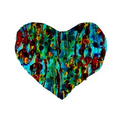 Turquoise Blue Green  Painting Pattern Standard 16  Premium Heart Shape Cushions by Costasonlineshop