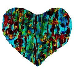 Turquoise Blue Green  Painting Pattern Large 19  Premium Heart Shape Cushions