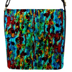 Turquoise Blue Green  Painting Pattern Flap Messenger Bag (s) by Costasonlineshop