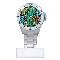 Turquoise Blue Green  Painting Pattern Nurses Watches by Costasonlineshop