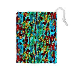 Turquoise Blue Green  Painting Pattern Drawstring Pouches (large)