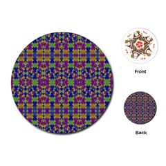 Ethnic Modern Geometric Pattern Playing Cards (round)  by dflcprints